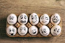 Easter Eggs With Different Face