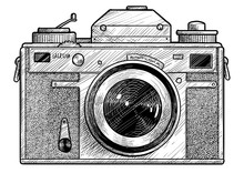 Retro Film Photo Camera Illustration, Drawing, Engraving, Ink, Line Art, Vector