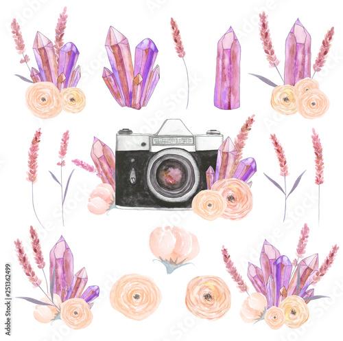 Photo  Watercolor camera flower set 42