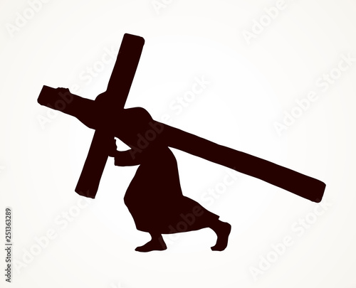 Obraz Men carry the cross. Vector drawing - fototapety do salonu