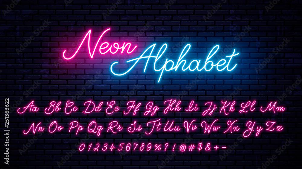 Fototapety, obrazy: Vector neon alphabet on wall background