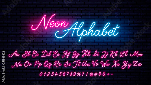 Vector neon alphabet on wall background Canvas Print