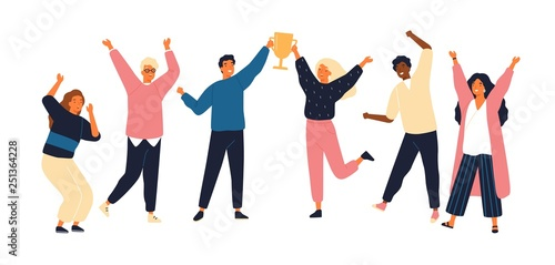 Fotografie, Tablou  Group of young joyful people with champion cup isolated on white background