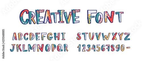 Fotografie, Tablou Creative latin font or english alphabet hand drawn on white background