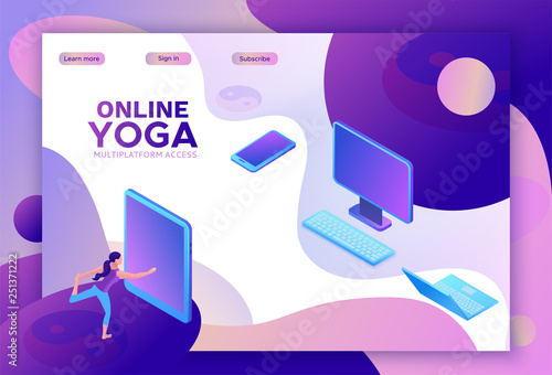 Yoga isometric concept or website template, 3d women doing physical