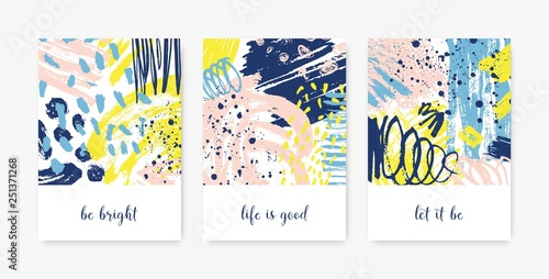 Photo  Bundle of decorative card templates with motivational phrases or messages and abstract stains, blots, brushstrokes, scribble, paint traces