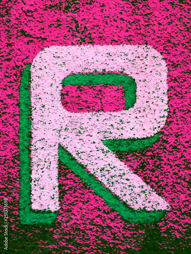 Fotografie, Obraz  lettera R colorata, texture