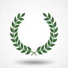 Icon Laurel Wreath - Vector Illustration, Green Icon Laurel