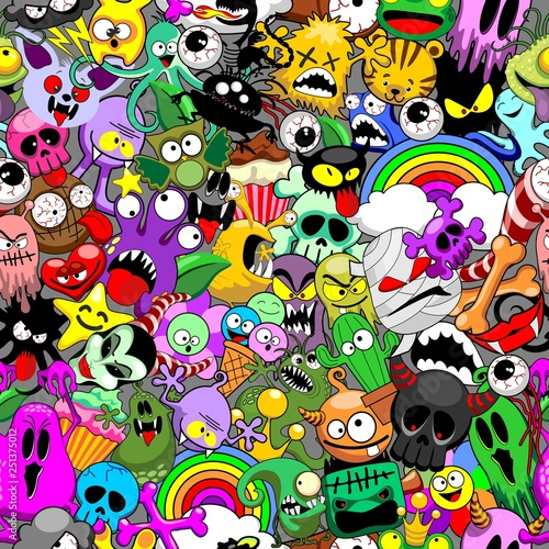 Spoed Foto op Canvas Draw Monsters Doodles Characters Saga Seamless Repeat Pattern Vector Design