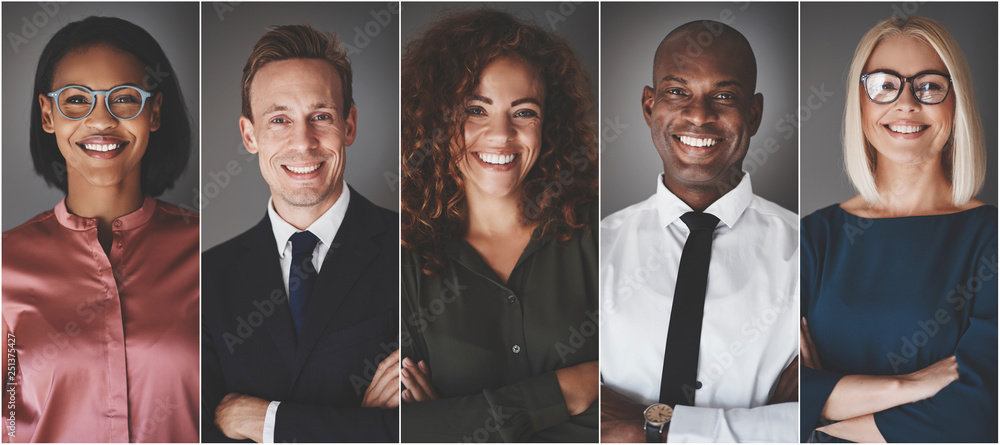 Fototapeta Diverse group of young businesspeople smiling confidently