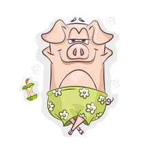 Pig In Green Shorts, Lying On ...