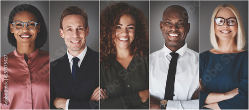 Diverse group of young businesspeople smiling confidently