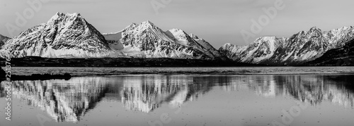 Fotografie, Obraz Mountains with a reflection in Norway