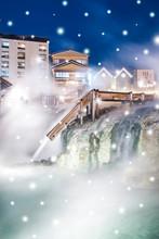 【日本・草津温泉】湯畑のライトアップ 冬 降雪