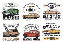 Retro Cars Service, Auto Show And Spare Part Store
