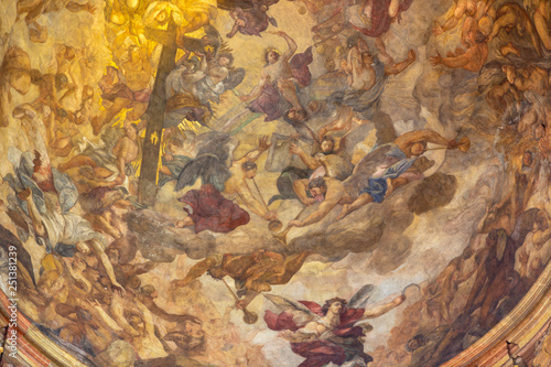 PRAGUE, CZECH REPUBLIC - OCTOBER 12, 2018: The detail of fresco of Last Judgment in the cupola of St. Francis of Assisi church by Václav Vavřinec Reiner (1689 - 1743).