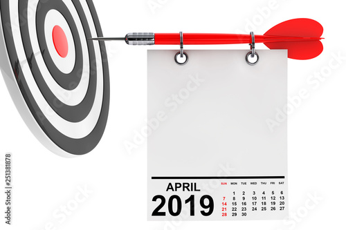 Photo  Calendar April 2019 with Target. 3d Rendering
