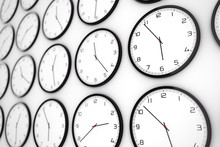 Set Of Clocks With Different World Time. 3d Rendering