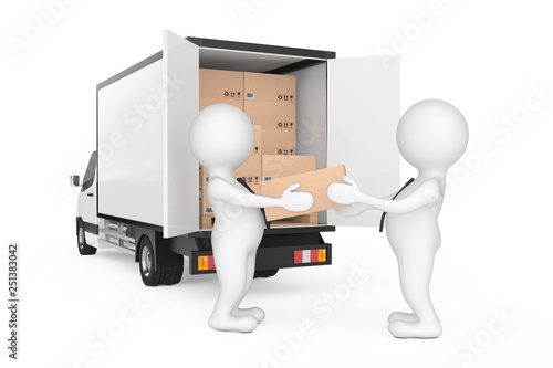 Delivery Men Persons Unloading Cardboard Parcel Boxes from