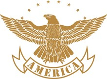 Eagle With Stars And Banner With Text America