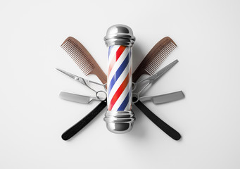 Barbershop logo design butterfly scissor background concept.
