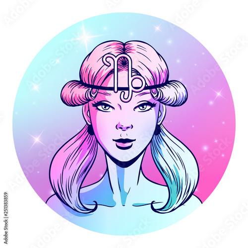 Photo Capricorn zodiac sign artwork, beautiful girl face, horoscope symbol, star sign,