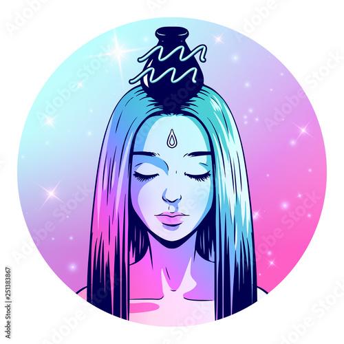 Aquarius zodiac sign artwork, beautiful girl face, horoscope symbol, star sign, Canvas Print