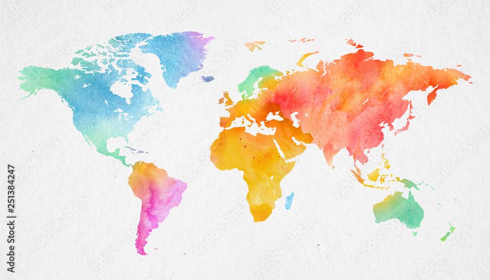 Fototapeta Mehrfarbenaquarell-Weltkarte auf Papierhintergrund.