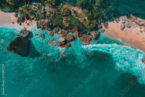 Photo Stands Bali Diamond beach, aerial view, Nusa Penida, Bali, Indonesia. Beautiful beach with turquoise water, white sand and large rocks