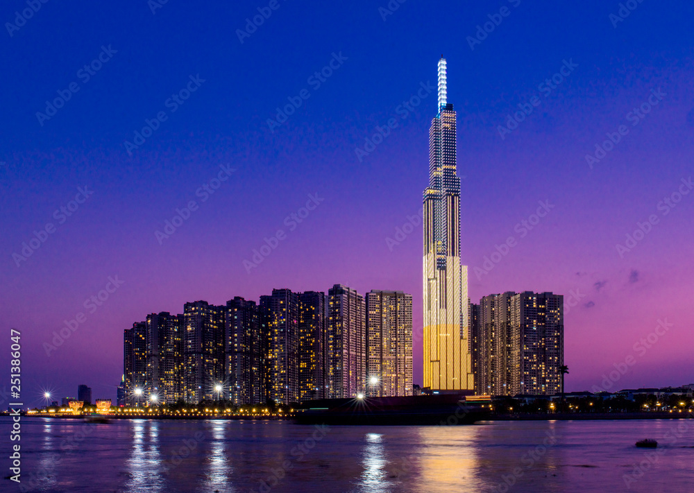 Fototapety, obrazy: Landmark 81 is a super-tall skyscraper in Ho Chi Minh City, Vietnam. Landmark 81 is the tallest building in Vietnam and the 14th tallest building in the world