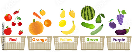 Different colors of fruits and vegetables illustration Wallpaper Mural