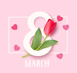 FototapetaWomens Day 8 March design template. Decorative number eight with eed tulips. Vector illustration