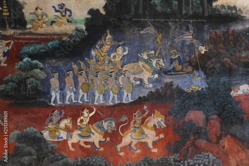 Fotografie, Obraz  fresque murale au <Palais Royale de Phnom Penh au Cambodge