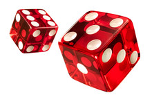 Red Casino Dice (w/clipping Path). High Resolution Of Clean New Dices