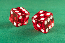 Red Dice Over Green Casino Felt (w/clipping Path). Great Close Up Showing Numbers 6 And 5