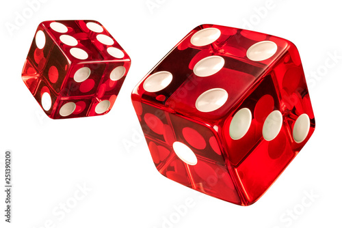 Fotografering Red Casino dice (w/clipping path)