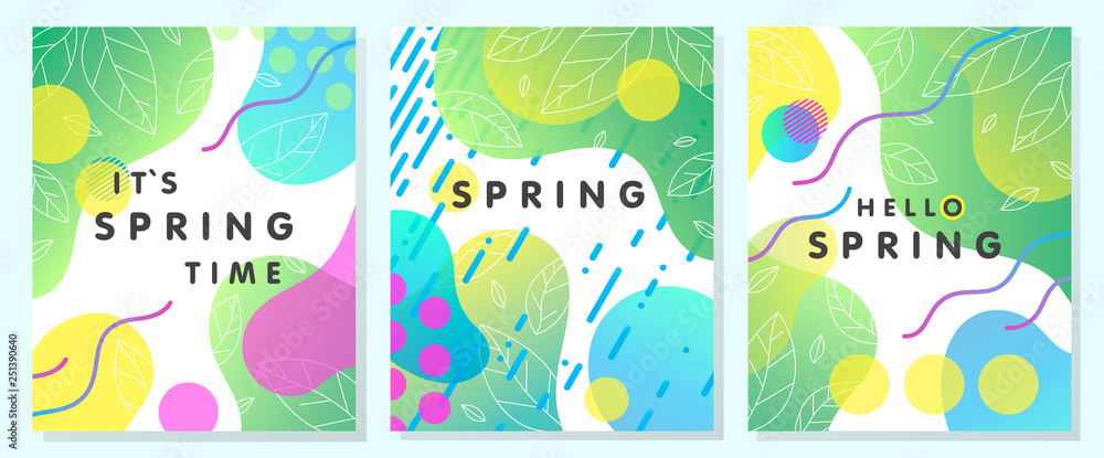 Fototapety, obrazy: Set of unique spring cards with bright gradient backgrounds,tiny leaves,fluid shapes and geometric elements in memphis style.Abstract layouts perfect for prints,flyers,banners,invitations,covers.