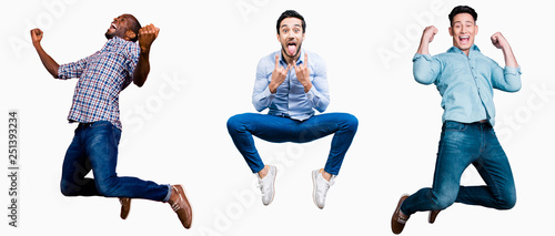 Fotografía  Full length body size portrait cool attractive cheerful he him his guys flying m