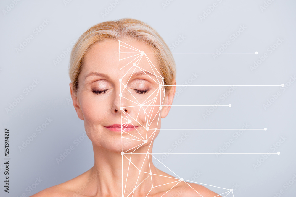 Fototapeta Collage close-up portrait of nice charming pretty attractive woman with perfect smooth soft skin after cream balm mask lotion lines showing places pieces of face isolated on gray pastel background