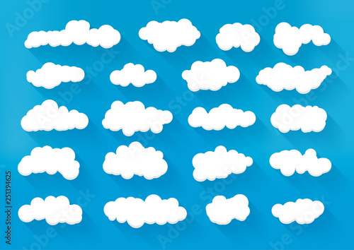 Foto op Plexiglas Hemel Collection of different clouds. Vector sky cartoon illustration.