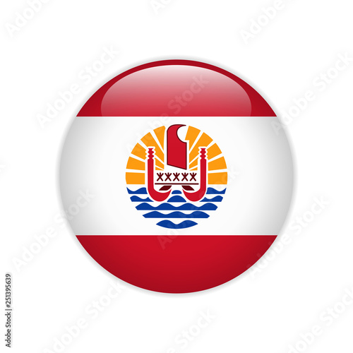 Fotografie, Obraz French Polynesia flag on button