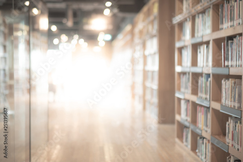 Photo Abstract blurred public library interior space