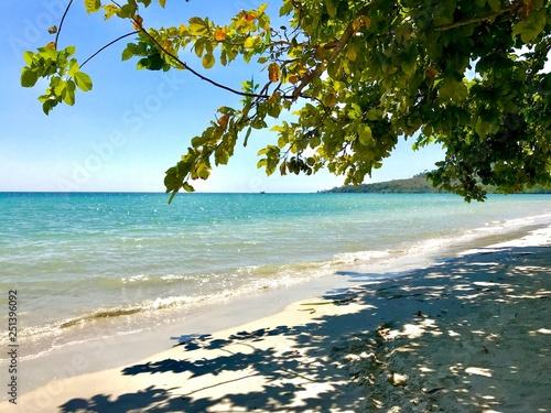 Fotografía  plage de sable blanc sur mer turquoise