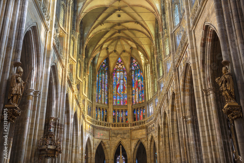 PRAGUE, CZECH REPUBLIC - OCTOBER 14, 2018: The gothic presbytery of St. Vitus cathedral.