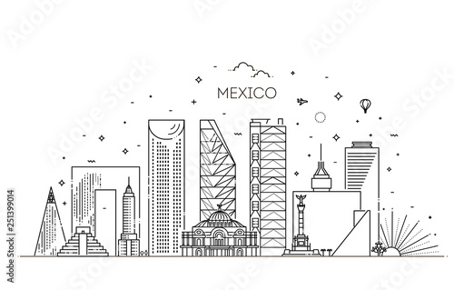 Vászonkép  Mexico city skyline on a white background
