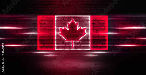 Montage in der Fensternische Kanada Canada neon flag on old brick wall background. Neon multicolored light smoke.