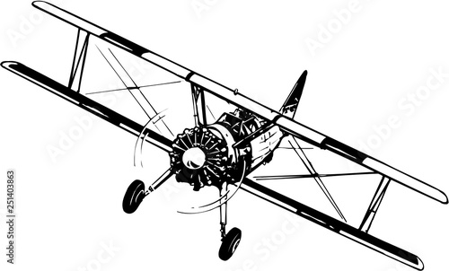 Biplane Vector Illustration Wallpaper Mural