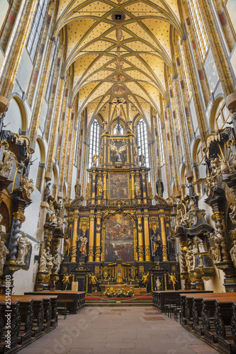 PRAGUE, CZECH REPUBLIC - OCTOBER 18, 2018: The neave of gothic-baroque Church of Our Lady of the Snows - Kostel Panny Marie Sněžné by unknown artis from years (1649–1665).