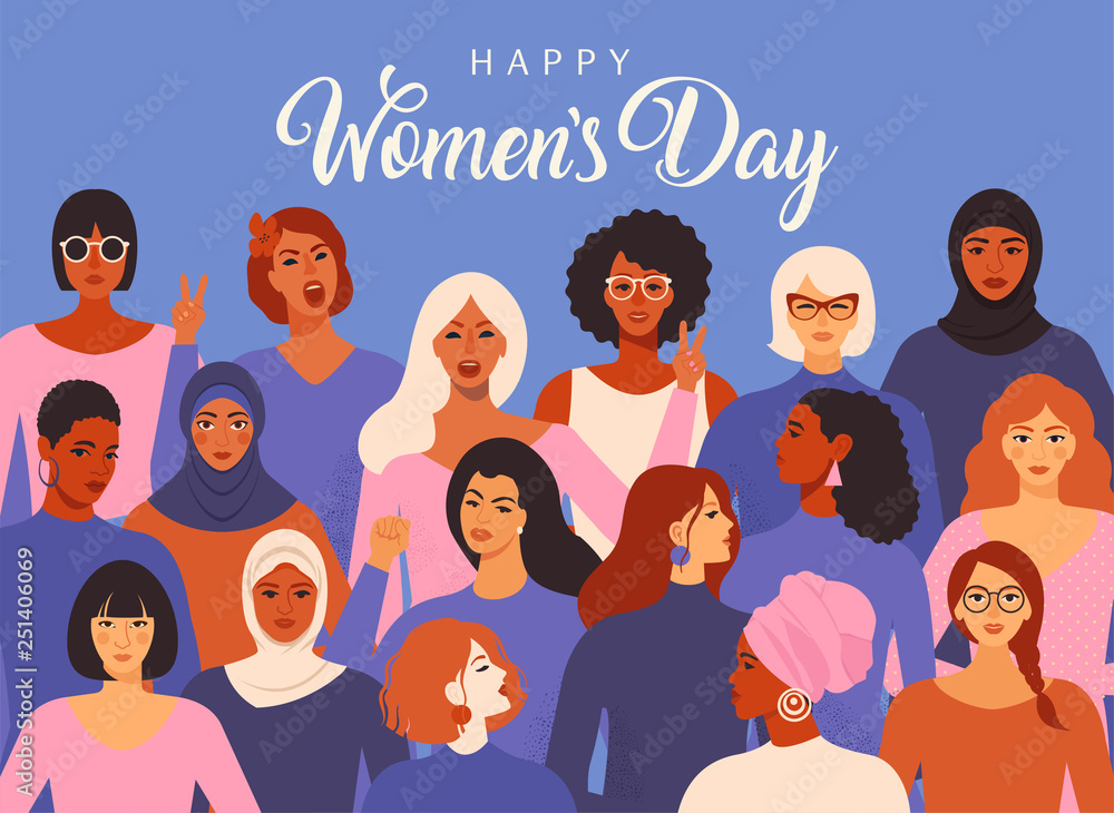 Fototapeta Female diverse faces of different ethnicity poster. Women empowerment movement pattern. International women s day graphic vector.