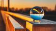 Crystal ball sunset shot with reflections at Plattling-Isar-Bavaria-Germany